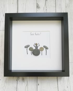 Pebble Art Picture Drummer - Christmas  - Dad, Father, Daddy Framed Gift