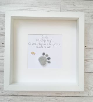 Pet Loss Dog Sympathy  Paw Print Pebble Picture Framed Personalised