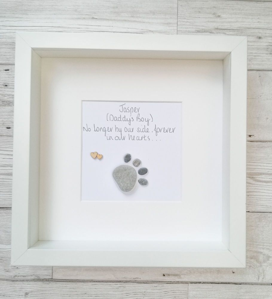 Pet Loss Dog Sympathy Pebble Picture Framed Personalised