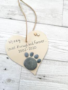 Paw Print Pet Memorial Pebble Art Personaliased