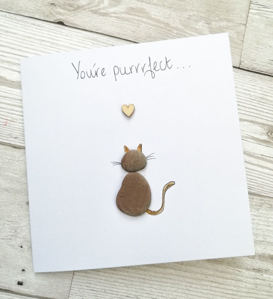 Pebble Art Card Anniversary Cat Lover Personalised