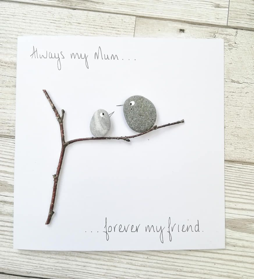 Mother's Day - Mum Birthday Card - Pebble Art Picture Personalised