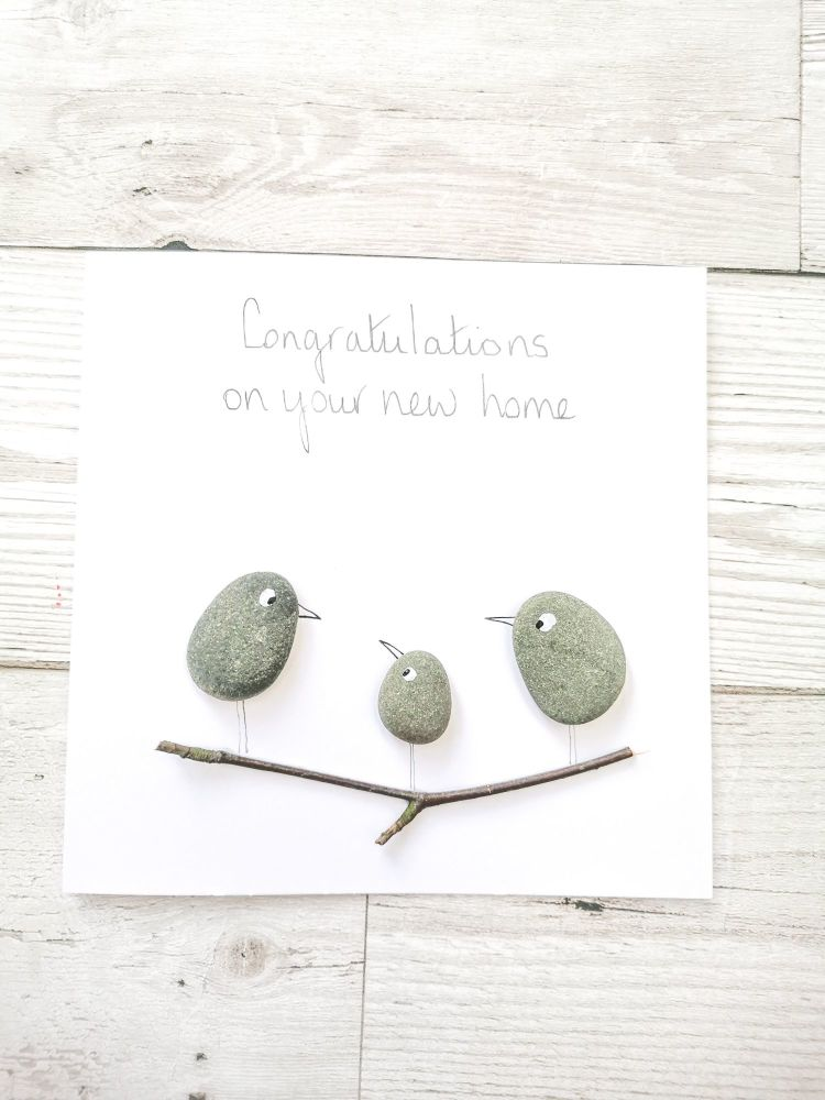 Handmade Pebble Art Moving New Home Card