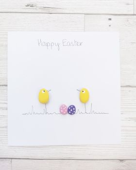 Birthday, Family & Friends Card Handmade Chicks Pebble Art Picture Fully Personalised