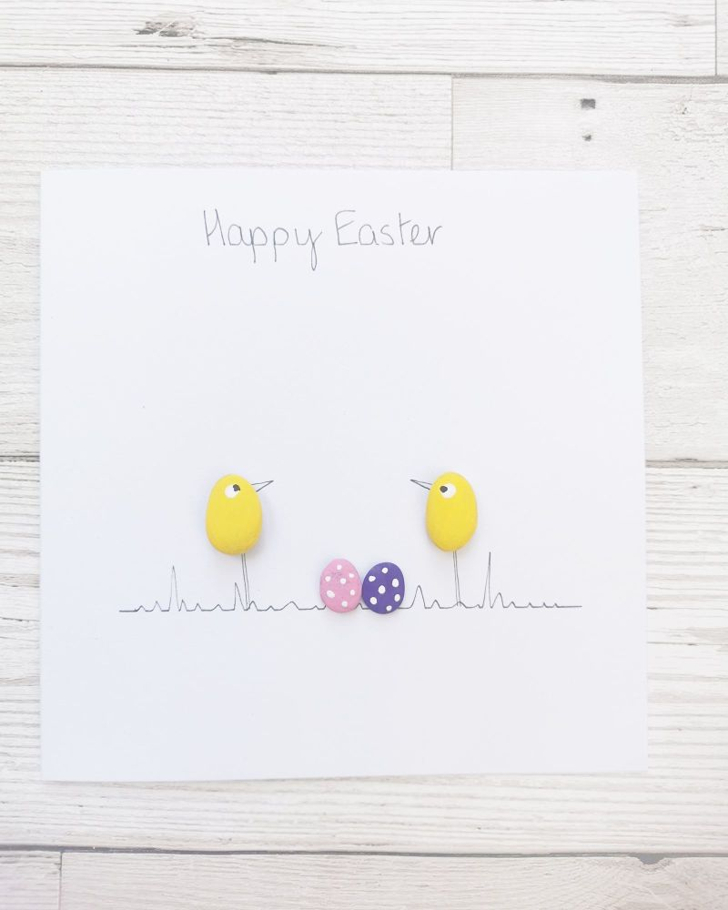 Pebble Art Handmade Card - Happy Easter Card - Fully Personalised Chicks, E