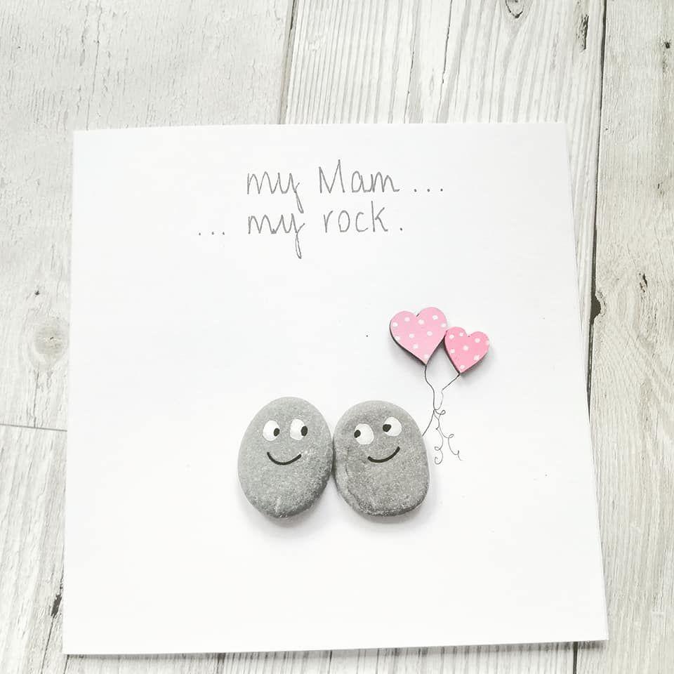 Mum Birthday Handmade Pebble Art Card Fully Personalised
