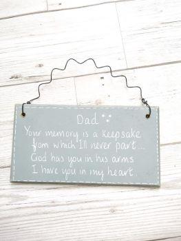Dad Daddy Keepsake Memorial Plaque Personalised Sign