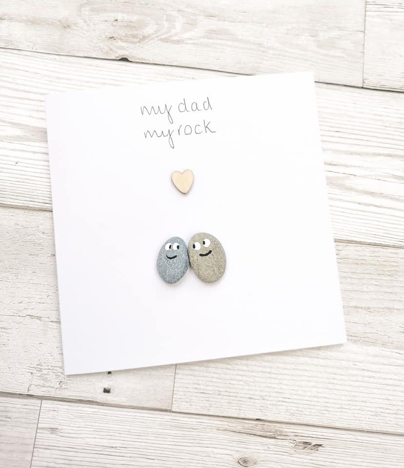 Dad Fathers Day, Birthday Handmade Pebble Art Card Personalised