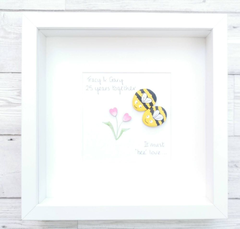 Pebble Art Picture  -Bees - Personalised Wedding Engagement Gift Framed