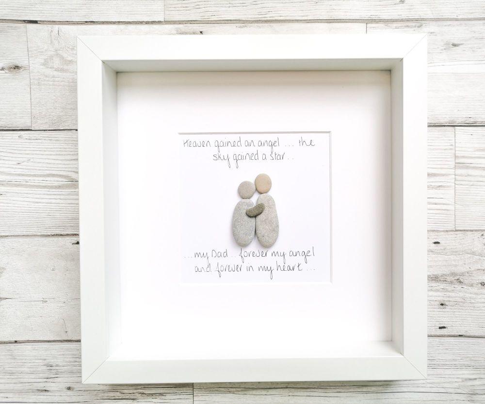 Pebble Art Picture Framed Mum Memorial Personalised Gift Idea