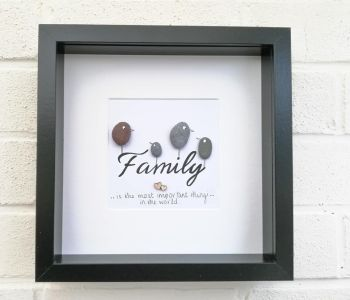 Family Pebble Art Picture Framed