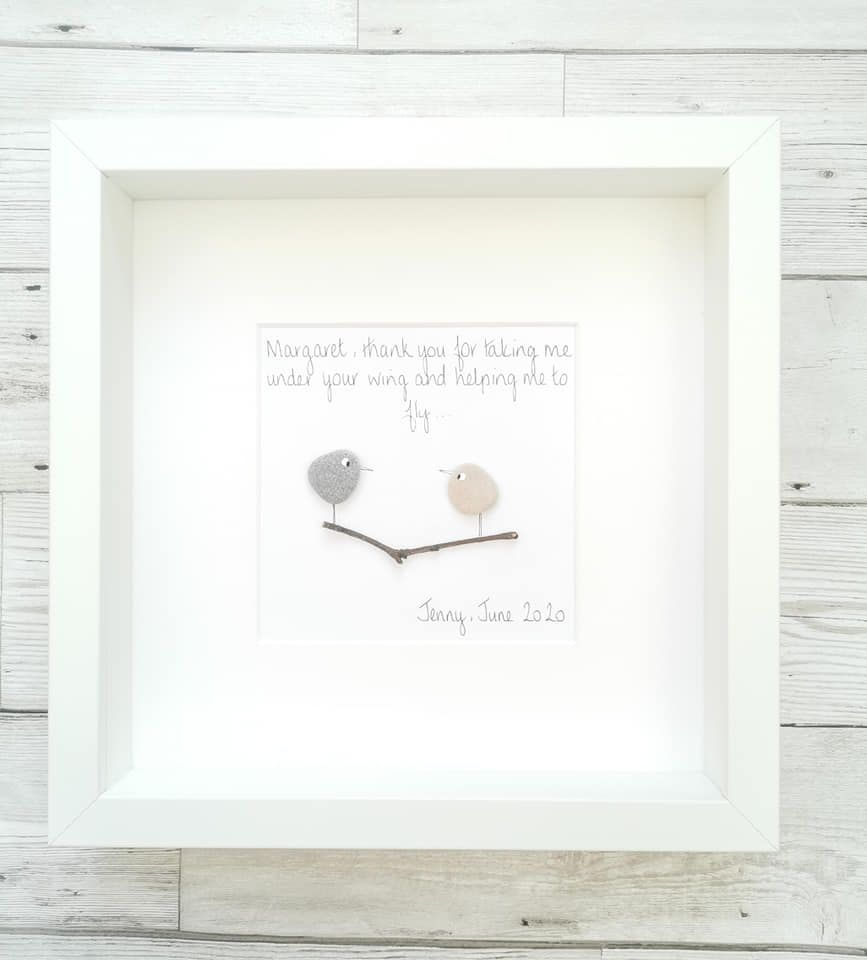 Pebble Art Picture Framed Teacher - Childminder - Nursery Personalised Than