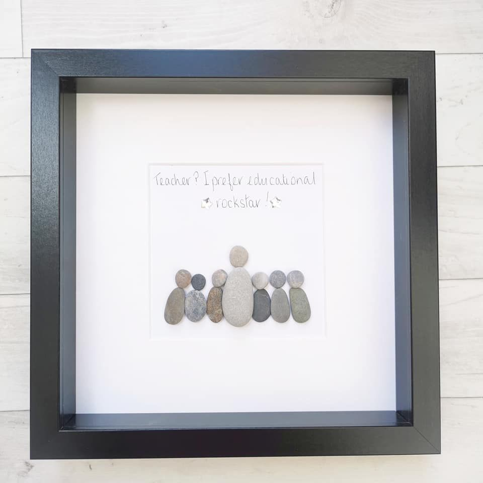 Pebble Art Picture Framed Teacher, Teaching Assistant, Tutor Personalised T