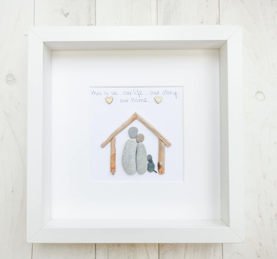 New Home -Housewarming - Family Pebble Art Picture - Framed And Fully Perso