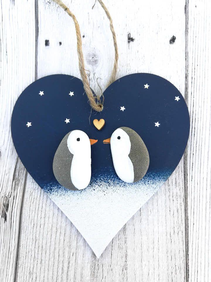 Christmas Decoration, Penguin Pebble Art Wood Heart, Handmade Hanging Wood