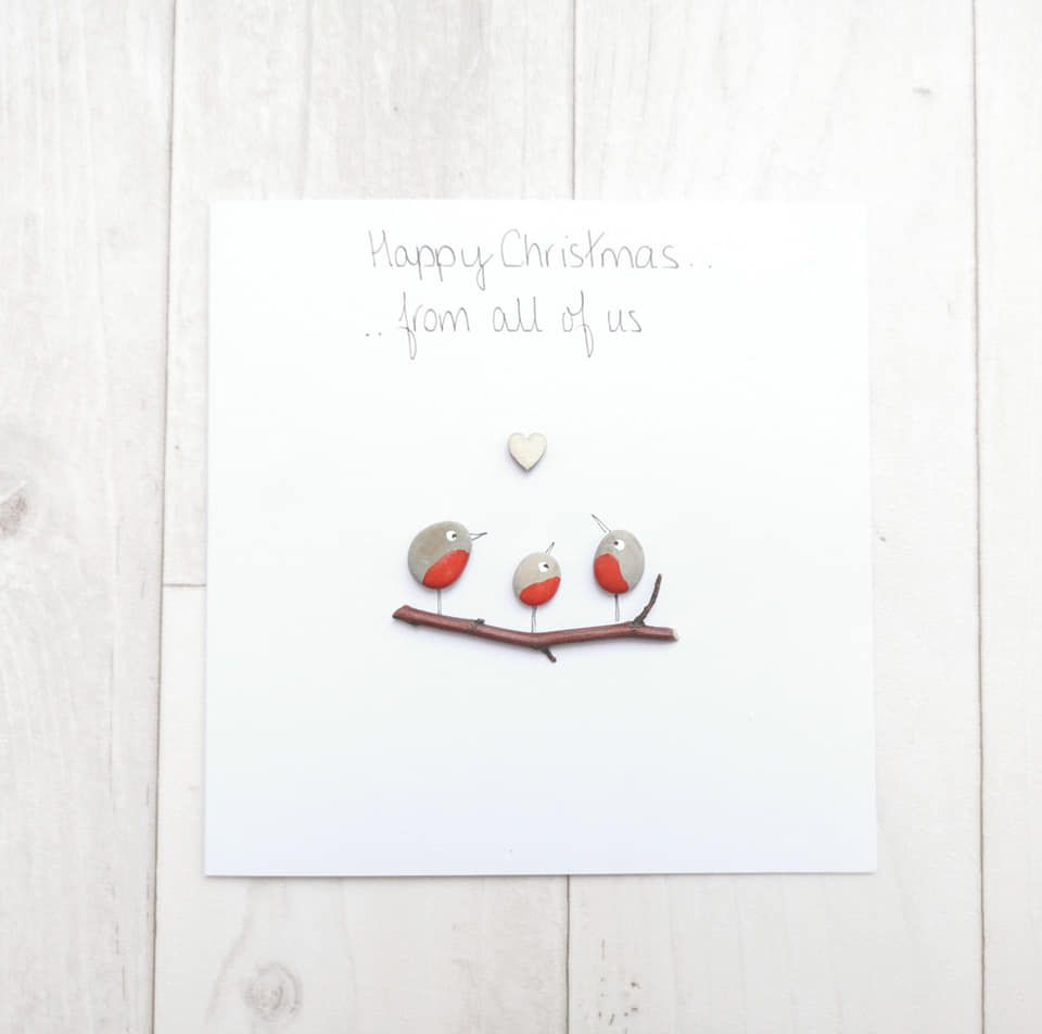 Robins Family Christmas Card - Pebble Art Picture - Handmade And Personalis