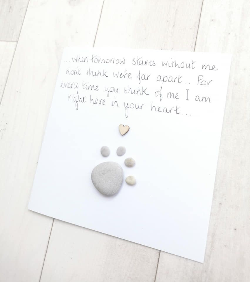 Pet Loss Dog Sympathy Card Pebble Picture Art - Personalised Keepsake