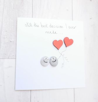 Anniversary Card, Husband, Wife Card Pebble Art Picture - I Love You - Fully Personalised