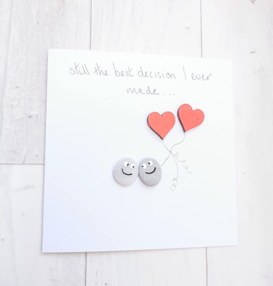 Anniversary Card, Husband, Wife Card Pebble Art Picture - I Love You - Full