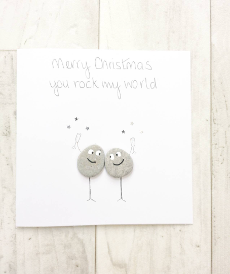 Christmas Card Pebble Art Picture - Loved Ones - Husband - Wife - Friends -