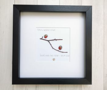 Pebble Art Picture - Robins Appear Loved Ones - Framed Sympathy Gift