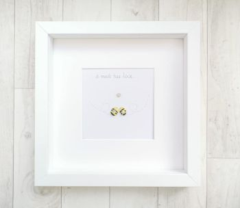 Pebble Art Picture It Must Bee Love - Anniversary - Engagement - Couples Gift Keepsake - Framed And Personalised