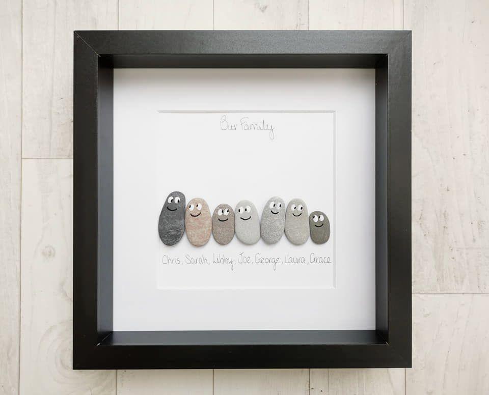 Pebble Art Family Picture - Handmade Personalised Framed Gift