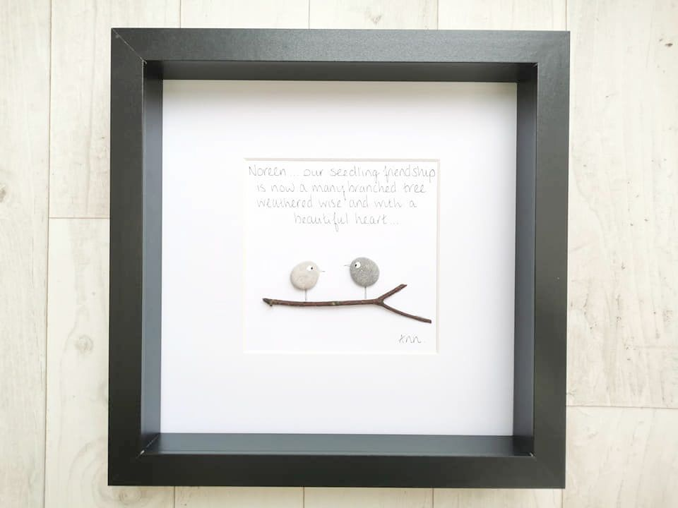 Pebble Art Picture Best Friends Gift Framed