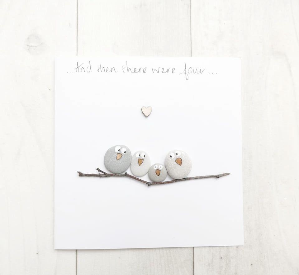 Dad, Daddy Handmade Birthday - Christmas Card Pebble Art Personalised