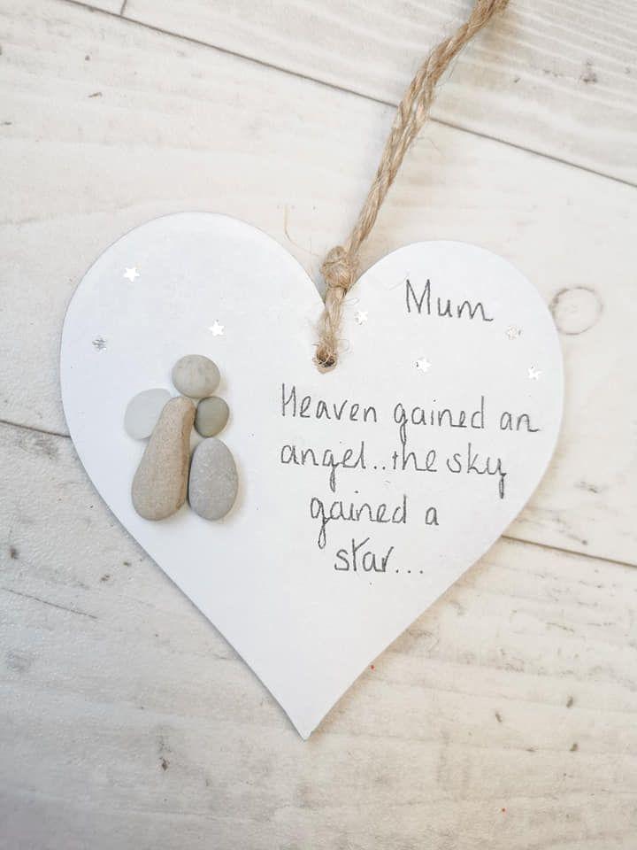Angel heart bauble wood heart decoration pebble art