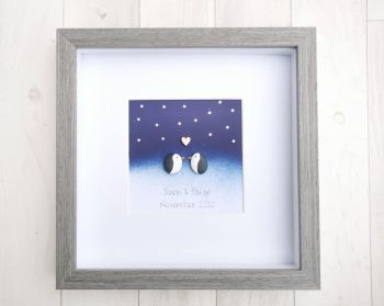 Penguin Family Love Pebble Art Together Forever Picture Customised Gift Idea