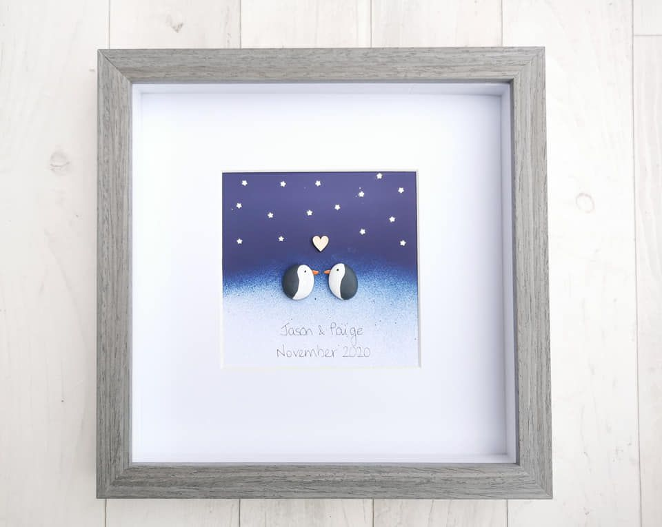 Penguin Family Love Pebble Art Together Forever Picture Customised Gift Ide