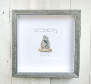 Wedding Anniversary Milestone Pebble Art Picture Framed Keepsake