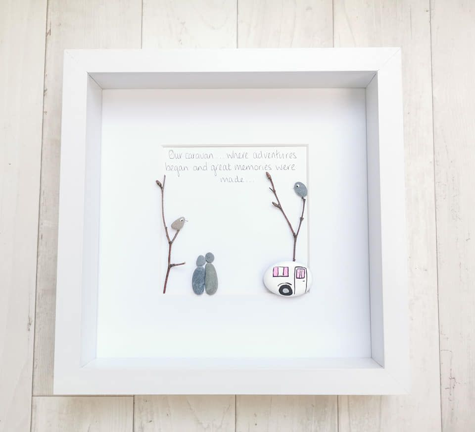 Pebble Art Picture - Caravan, Campervan Decor Outdoors Handmade And Framed