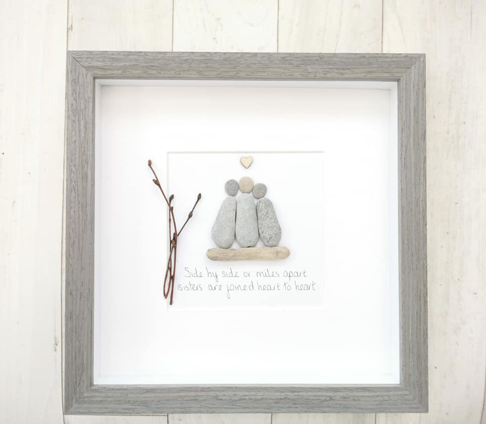 Pebble Art Picture Sisters - Christmas, Birthday Gift - Sister Framed Perso
