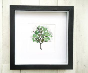 Seaglass Art - Beach Picture - Wall Art - Tree Art - Framed Gift