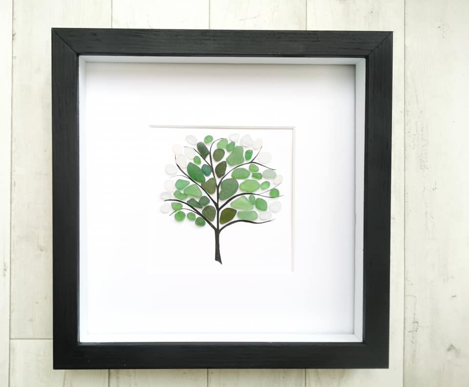 Seaglass Art - Beach Picture - Wall Art - Tree Art - Framed Gift