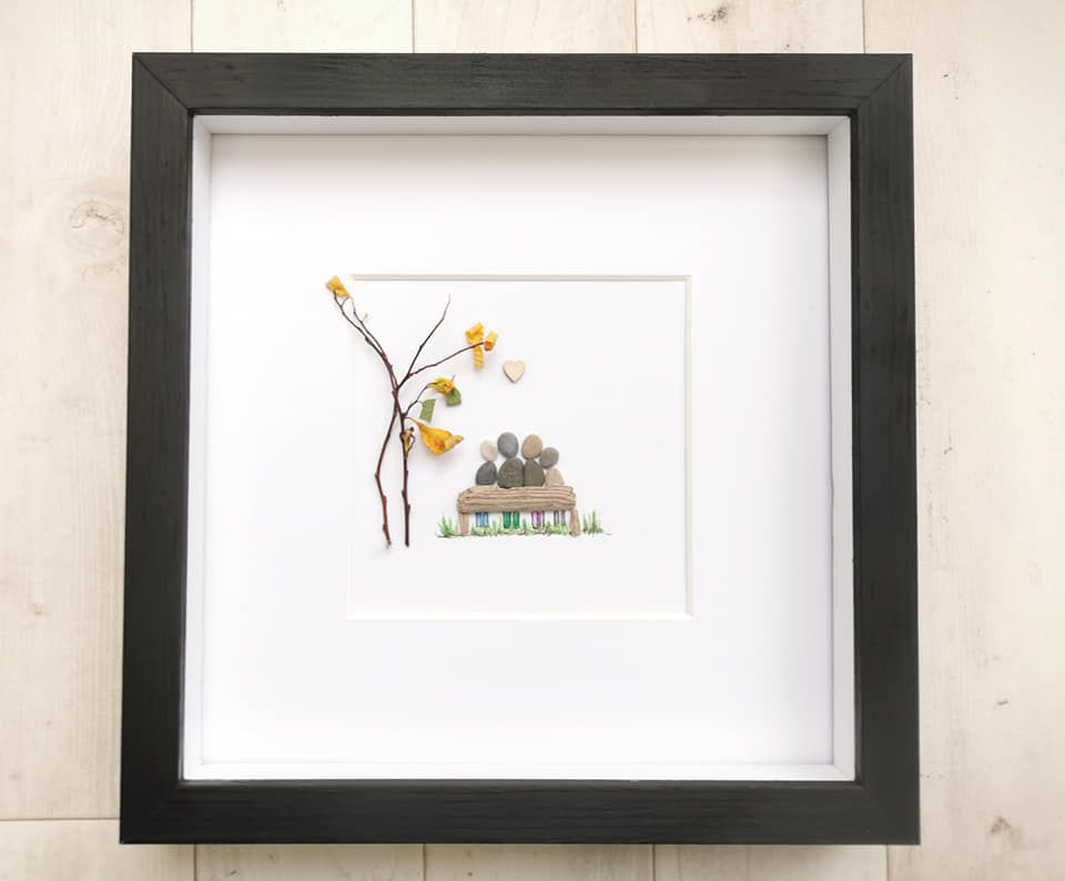 Family Pebble Picture Framed, Pebble Art, Housewarming Gift, Fully Personal