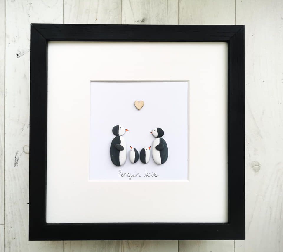 Pebble Art Picture - Penguin Family Framed Customised Gift