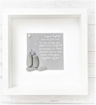 Moon And Stars Pebble Art Picture - Valentines Day Gift - Loved Ones Family & Friends Gift Idea