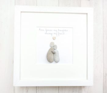 Pebble Art Picture Daughter - Birthday Gift -  Framed Personalised Miss You gift