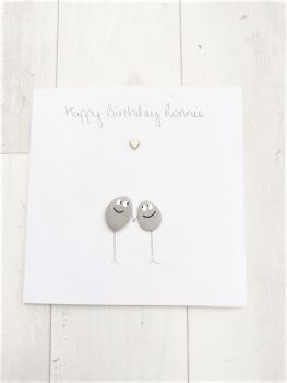 Birthday Card Friends & Family Handmade Pebble Art Picture , Fully Personalised