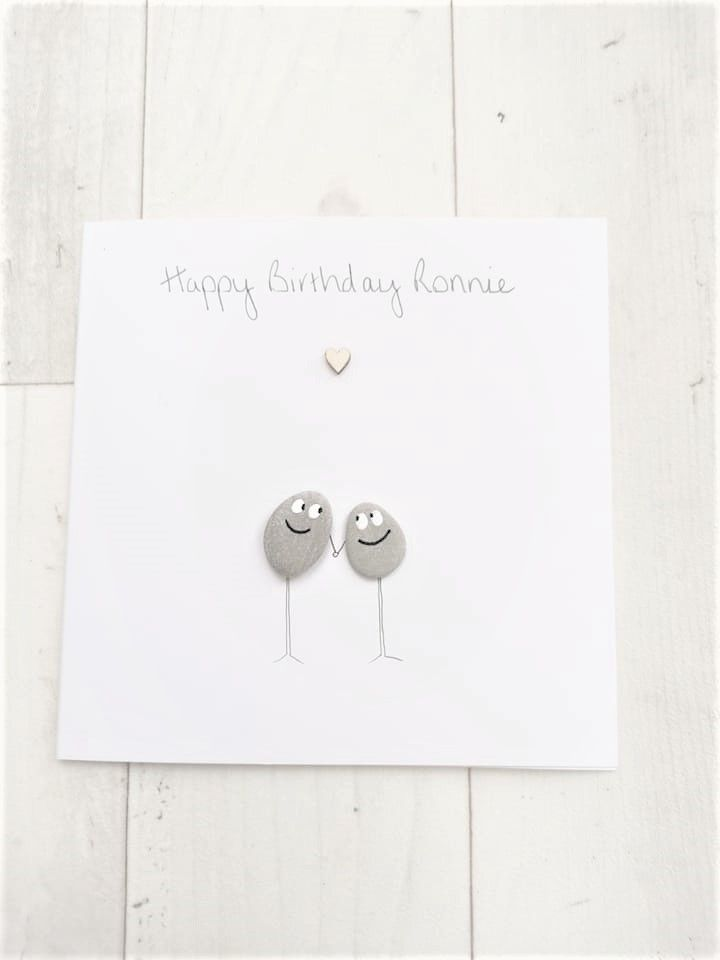 Birthday Card Friends & Family Handmade Pebble Art Picture , Fully Personal