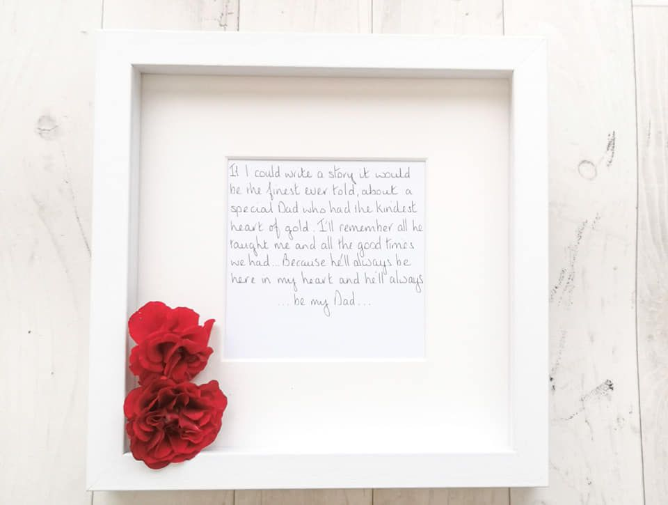 Funeral flowers keepsake frame memorial gift hand written and personalised