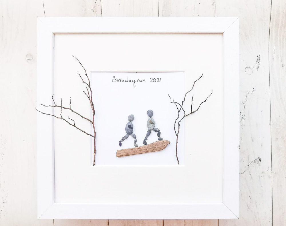 Runners, Walkers, Hikers Personalised Gift, Framed Pebble Art, Pebble Pictu