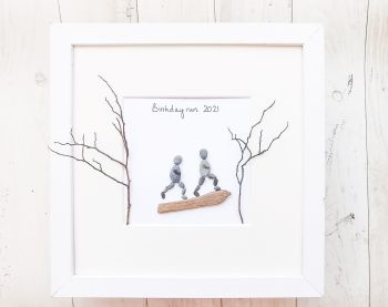 Runners, Walkers, Hikers Personalised Gift, Framed Pebble Art, Pebble Picture
