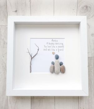 Aunty, Auntie Birthday Gift - Sister - Pebble Picture, Pebble Art - Framed & Personalised