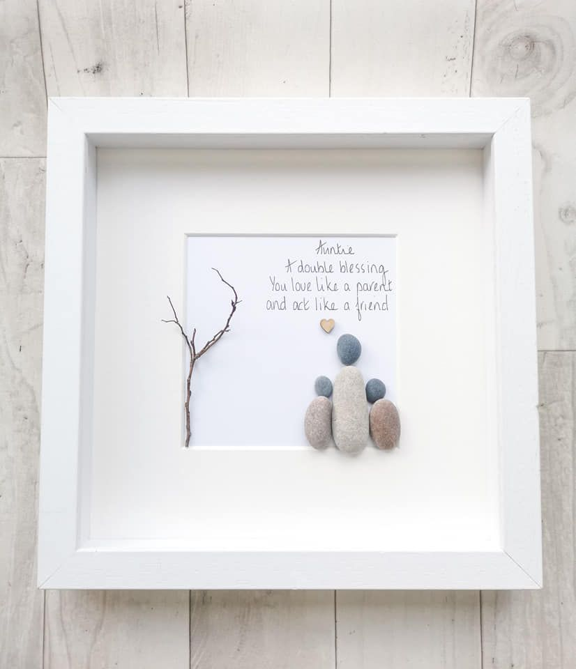 Aunty, Auntie Birthday Gift - Sister - Pebble Picture, Pebble Art - Framed