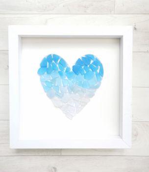 Seaglass Heart Ombre in Blue White Framed Coastal Beach Bathroom Decor Birthday Anniversary