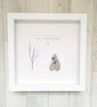 Couple Engagement - Wedding Anniversary Pebble Art Picture Framed